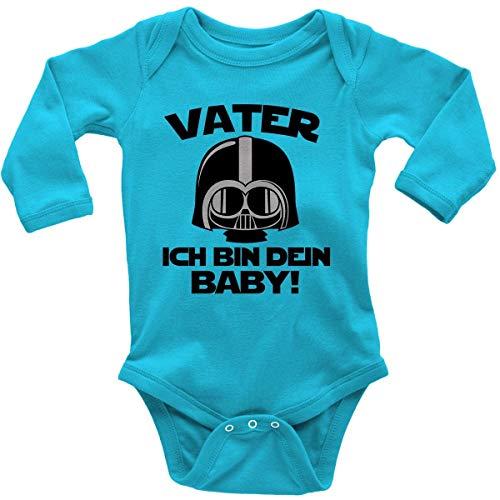 Mikalino Babybody mit Spruch für Jungen Mädchen Unisex Langarm Vater - ich Bin Dein Baby! | handbedruckt in Deutschland | Handmade with Love, Farbe:Atoll, Grösse:62
