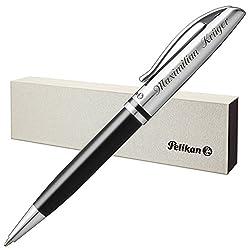 Pelikan Kugelschreiber JAZZ CLASSIC Schwarz mit persönlicher Laser-Gravur Metall glänzend schwarz lackiert