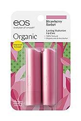 EOS 2 Piece Organic Lip Balm Stick, Strawberry Sorbet, 0.28 Ounce