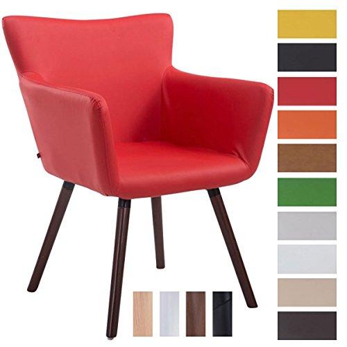 Clp sedia visitatore design antwerpen, similpelle - poltroncina rétro con schienale e braccioli imbottiti i sedia soggiorno in legno, facile da pulire, carico max 160kg rosso colore base: noce