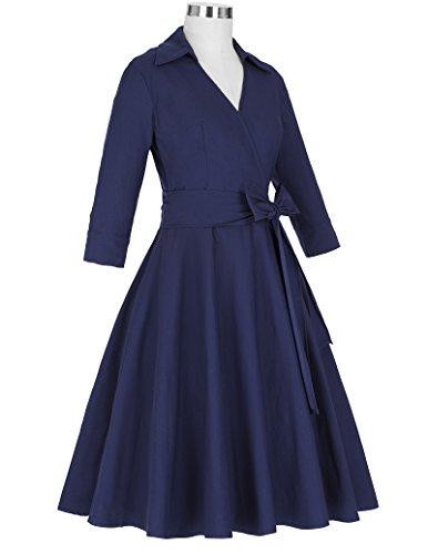 Belle Poque 1950er Vintage Rockabilly Kleid Damen Retro Kleid Swing Kleider BP95 Blau