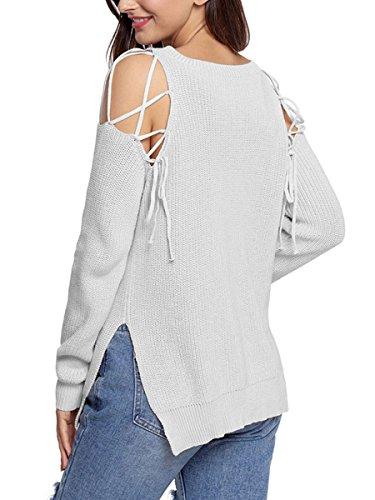 Summer Mae Damen Sexy V Ausschnitt Langarm Übergroßer Strickpullover Sweater Schwarz 3