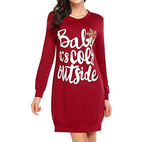 Toasye Frauen Weihnachten Langarm Rundhals Minikleid, Damen Weihnachten Druck Casual Pullover Sweatshirt