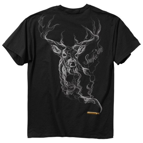 Buck Wear Herren T-Shirt Smoke-Deer, Herren, 2449-SM, schwarz, Small - Hirsch Herren T-shirt