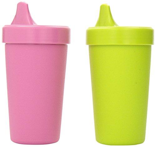 Re-Play Kinder Trinklernbecher, 2er Set, Auslaufsicher | BPA-frei | nachhaltig durch Recyclingmaterial | Hergestellt in den USA (Pink)