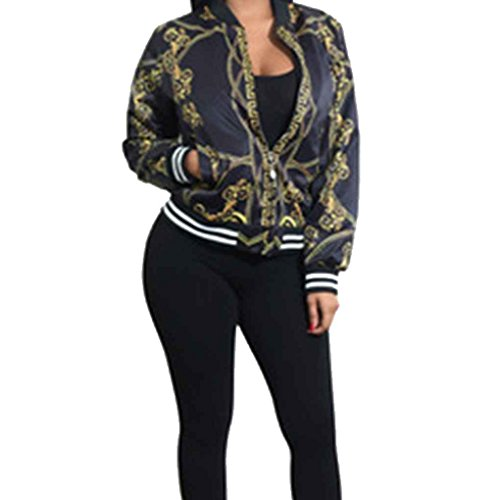 Minzhi Bomber da donna con stampa overcoat vintage oro catena con colletto a manica lunga con stampa floreale Nero