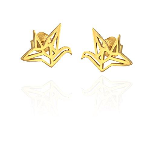 SOFIA MILANI Damen Ohrringe Ohrstecker Vogel Origami Silber Vergoldet 20446
