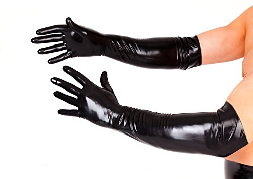 EXLATEX Latex Gummi Schwarz Lange Handschuhe Fetisch Outfits Kost¨¹m Zubeh?r Plus Size (Plus Size Indische Halloween Kostüme)