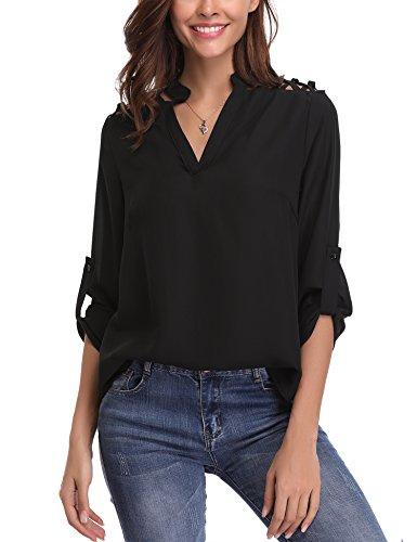 Abollria Camicia Donna Elegante Maniche Lunghe Regolabili Blusa di Chiffon per Ufficio Camicetta Scollo V per Primavera Estate Autunno