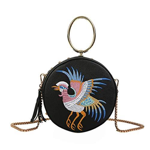 Mitlfuny handbemalte Ledertasche, Schultertasche, Geschenk, Handgefertigte Tasche,Frauen Retro chinesischen Stil Leder Fly Bird Bag Kran Rundtasche Umhängetasche
