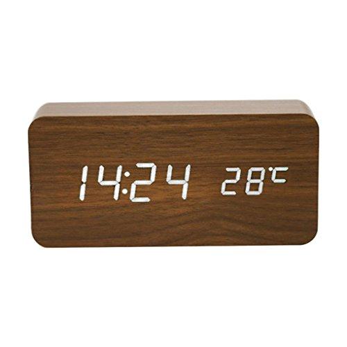 Mengonee LED Wecker Zeit Datum Zeit Elektronische Digitale Tisch Desktop Bambus Holz Uhren Sonic Modern Home Decor