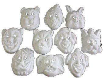 Clown Maske Für Erwachsene (HAAC 10er Set Maske Masken für Kinder und Erwachsene Farbe weiss Halloween Fasching Karneval mit Motiven wie Clown Hase Tiger Bär Weihnachtsmann)