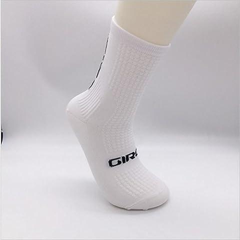 Qualité professionnelle Chaussettes de sport Protection des pieds, noyau respirant, chaussettes de vélo qui absorbent la sueur, Weiß