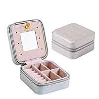 Gluckliy Faux Leather Portable Travel Small Jewelry Box Jewelry Storage Case Organiser with Makeup Mirror for Rings Earrings Necklaces (Silver)