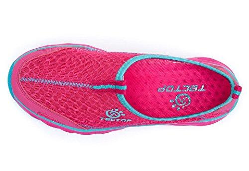 Panegy Chaussons pour Sport Aquatique Femme/Fille Chaussures de bain Chaussons d'eau Plage Ruisseau Montagne Promenade Semelles Slip-on Séchage rapide 36-40 Magenta/Gris/Bleu Magenta