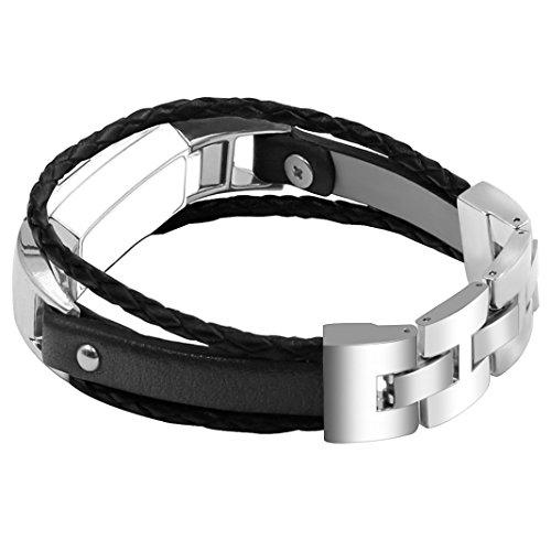 Für Fitbit Alta Armband, Rosa Schleife Vintage Leder Uhrenarmband Wrist Strap Ersatzarmband für Fitbit Alta/Alta HR Schwarz