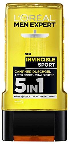 L'Oreal Men Expert Invincible Sport Duschgel, mit Zitrusduft, für Körper, Gesicht und Haare, (3 x 300 ml)