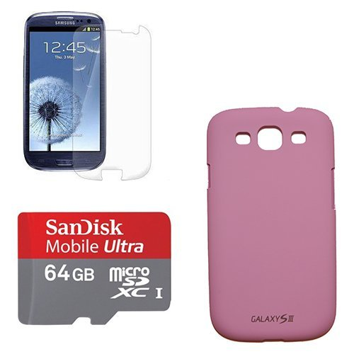64GB SanDisk MicroSD XC Class 10 Memory Card with Lilac Cell Phone Case and Screen Protector for Samsung Galaxy S3