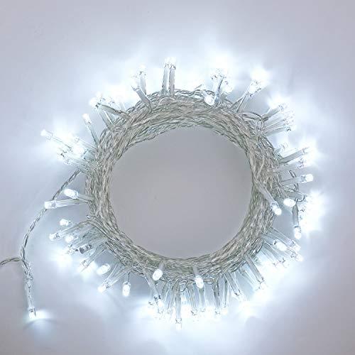 Qedertek Luci Natalizie da Esterno, Catena Luminosa 10M 100 LED, Filo Trasparente Bianco, 8 Mode di Lampeggiata, Luci Bianco per Albero di natale, Luci Natale Addobbi Natalizi, Finestra, Porta