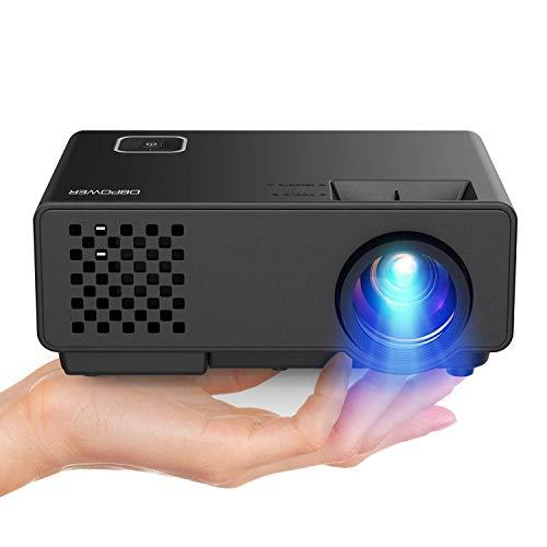 DBPOWER Mini Beamer, 2000 Lumen HD 1080P LED Video Projektor mit 176u0022 Display, 50.000 Lebensdauer, Heimkino Projektor Kompatibel mit Amazon Fire TV Stick, HDMI/VGA/AV/USB