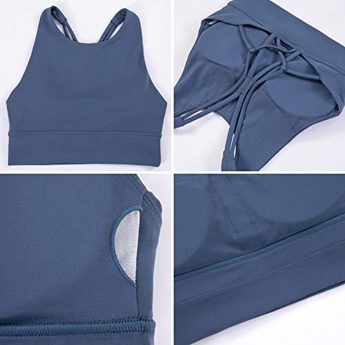 ANIMQUE Damen Sport-BH Schöner Rücken High-Neck Yoga Fitness Top Mit-intensität, Violettrosa M - 6