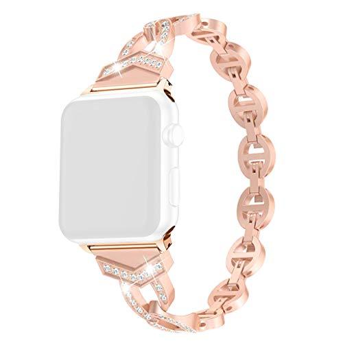 Bearbelly Armband Kompatibel mit Apple Watch 38mm/40mm Edelstahl Strasssteine Aushöhlen Sport Business Ersatz Uhrenarmband Elegantes Damen Party Kettenarmband Kreatives Geschenk -