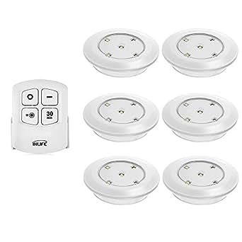 Lampe de placard LED Inlife Lot de 6,led sans fil avec télécommande Éclairage de l'armoire de cuisine/placard/pièce/étagères,alimenté par piles