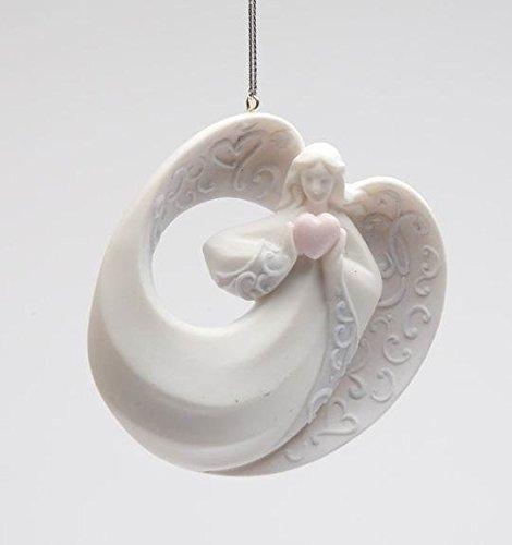7,6cm bianco angelo che tiene un cuore da collezione ornamento display