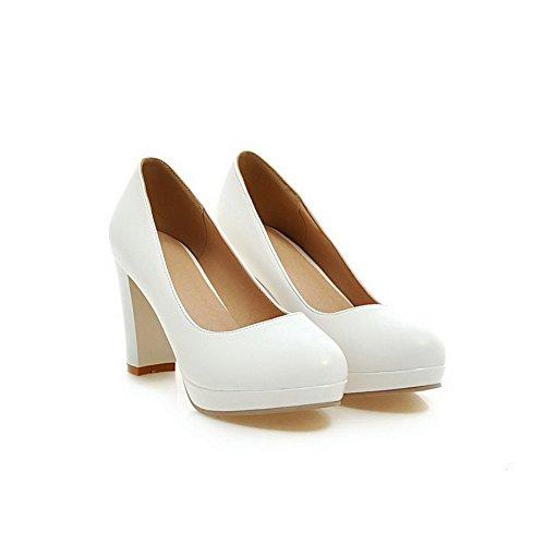 VogueZone009 Femme Fermeture D'Orteil Rond Tire Pu Cuir Couleur Unie à Talon Haut Chaussures Légeres Blanc