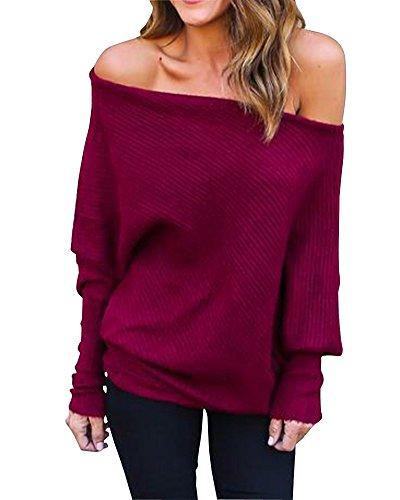 Mujeres Suéter Largo Cuello Barco Manga Larga Murciélago Jersey De Punto  Pullover Vino Rojo M a063717e4870