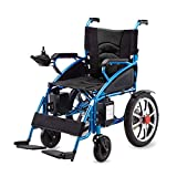 SISHUINIANHUA Folding Power Wheelchair, Electric Wheel Chair Personal Mobility Aid Portable Lightweight Manual/Electric Switching Dual Battery for Disabled And Elderly Mobility(Black Blue)