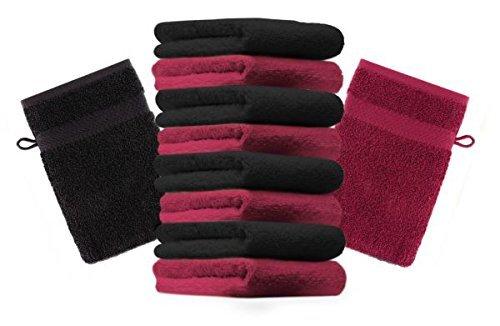 Betz lot de 10 gants de toilette taille 16x21 cm 100% coton Premium couleur rouge foncé, noir