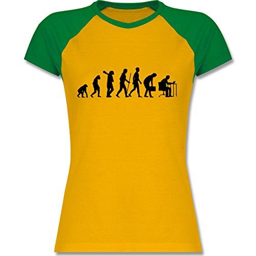 Shirtracer Evolution - Computer Evolution - Zweifarbiges Baseballshirt/Raglan T-Shirt für Damen Gelb/Grün