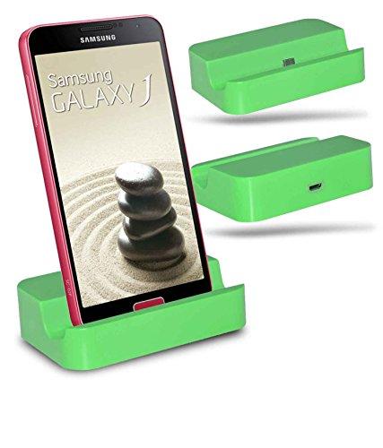 Samsung Galaxy J1 4G und J1 SM-J100 Mikro-USB Lade-Dock Dockingstation Halterung Ständer Ladegerät für den Schreibtisch - Grün / Green - Von Gadget Giant®