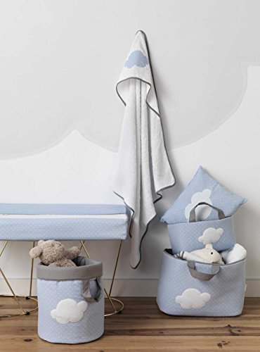 Funny Baby 623202 - Juguetero acolchado 30 x 40 cm, diseño motas y nubes, color azul