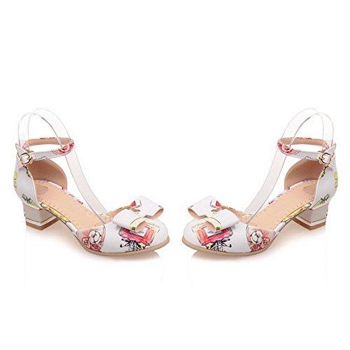 VogueZone009 Femme Boucle à Talon Bas Pu Cuir Couleurs Mélangées Rond Chaussures Légeres Blanc
