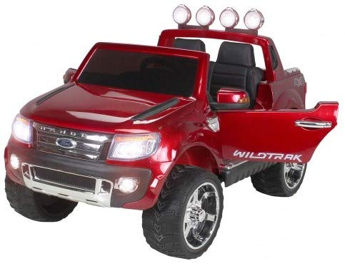 Actionbikes Motors Kinderauto Elektroauto Ford Ranger - Lizenziert - 2 x 45 Watt Motor - Eva Vollgummireifen - 2,4 Ghz Fernbedienung (Weinrot Lackiert)