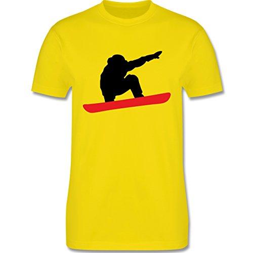 Wintersport - Snowboard Abfahrt Planke - Herren Premium T-Shirt Lemon Gelb