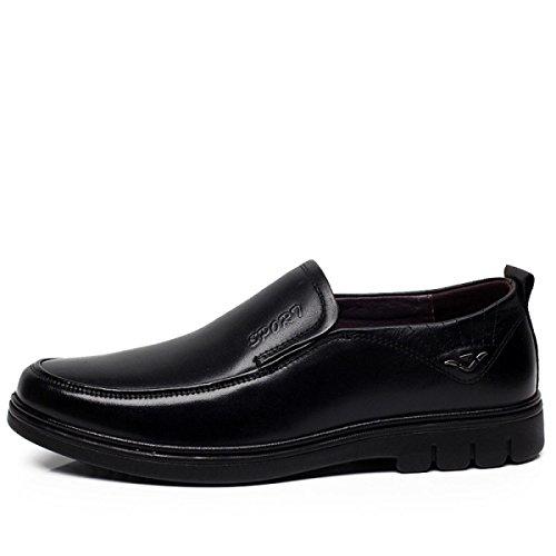 GRRONG Chaussures En Cuir Véritable Pour Homme Tenue D'affaires En Cuir Noir Black