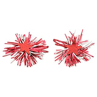Zest Christmas Tinsel Rosettes with Stars Hair Sleepies Slides Red & Silver
