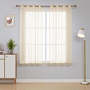 Deconovo 2er Set Vorhang Transparente Gardinen Wohnzimmer Schlafzimmer Ösenvorhang Modern 138×140 cm Himmelblau