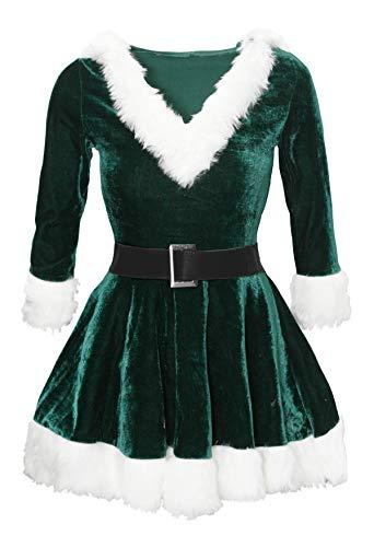 Bslingerie Fräulein Weihnachtsmann mit Kapuze Kleid Kostüm (Grün, -