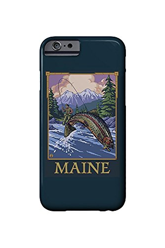 Maine - Angler Fly Fishing Scene (Leaping Trout) (iPhone 6 Cell Phone Case, Slim Barely There)