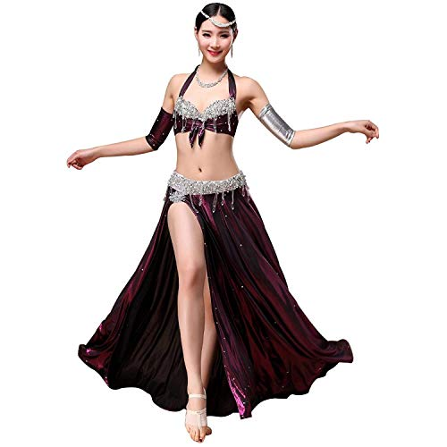 CX Erwachsene Weibliche Bauchtanz Performance Practice Kostüm Set , Perle Stickerei BH + Side Split EIS Seidentanz Rock Set 2 STÜCKE (Farbe : Lila, größe : ()