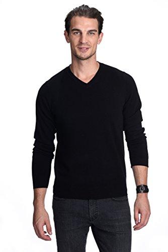 Schwarz Mock Neck Sweater (State Cashmere Herren 100% reiner Kaschmir-Pullover Halber Reißverschluss Mock Neck Sweater, Schwarz, Gr. M)