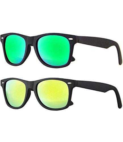 Caripe Retro Nerd Vintage Sonnenbrille verspiegelt Damen Herren 80er - SP (2er Set: schwarz gummiert: 1 x Bluegreen - 1x gelb verspiegelt)