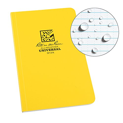 Rite in the Rain Allwetter Soft Cover Notebook, 4 5/20,3 cm X 7 1/10,2 cm, Universal Muster (Nr. 374) gelb