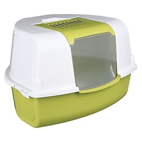 Trixie Tadeo ouverture supérieure Bac à litière d'angle pour chat, 58x 38x 50cm, vert/blanc