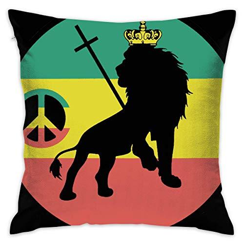 saletopk Rasta Lion Flag Dekorative Dekokissen Platz 18 X 18 Zoll für Wohnzimmer Couch Schlafsofa Decor Rasta Dot