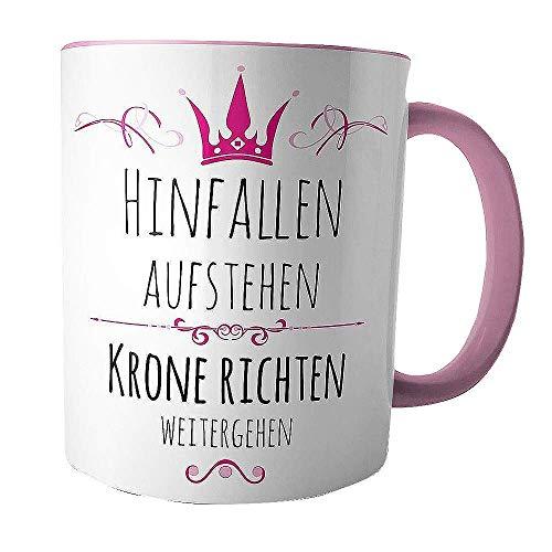 Creativgravur® Tasse Kaffeebecher Kaffeetasse - Prinzessin hinfallen, aufstehen, Krone richten, weitergehen - Druck oder Gravur, Motiv:Motiv 01